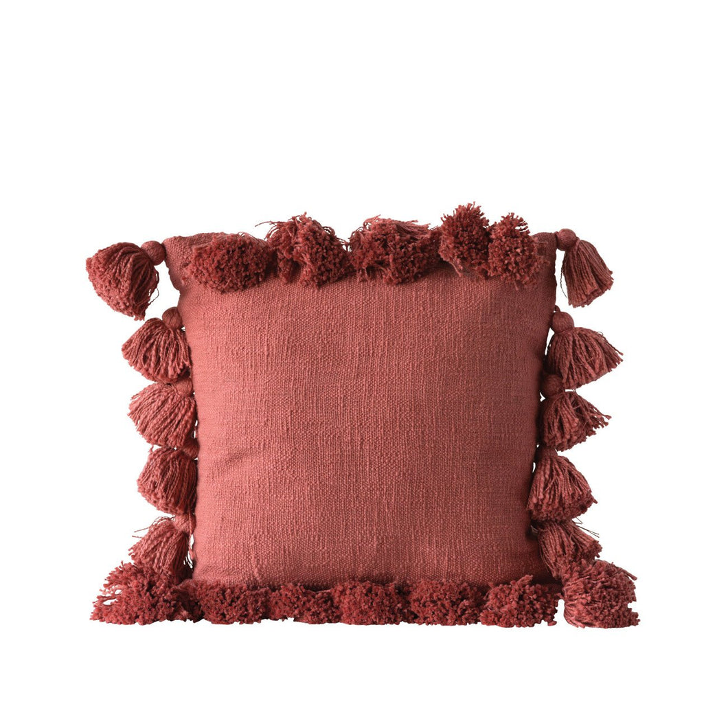 Square Cotton Woven Pillow with Tassels, Russet