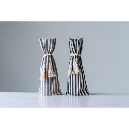 Grey Cotton Striped Wine Bag with Tassels (Set of 2 Colors) Default Title