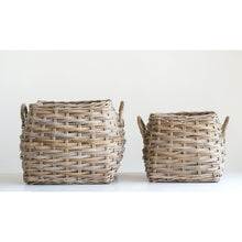 Load image into Gallery viewer, Square Beige Rattan Baskets with Handles (Set of 2 Sizes)