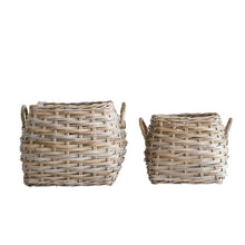 Load image into Gallery viewer, Square Beige Rattan Baskets with Handles Set of 2 Sizes