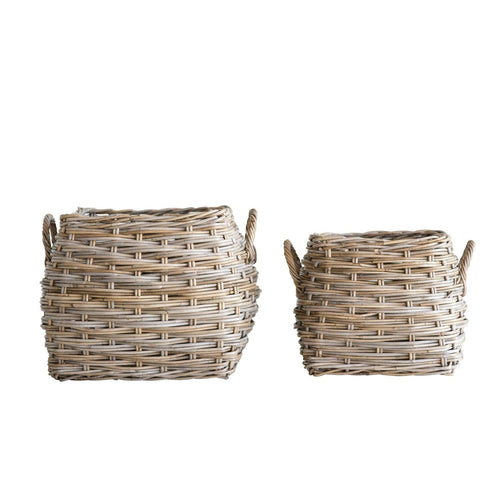 Square Beige Rattan Baskets with Handles Set of 2 Sizes