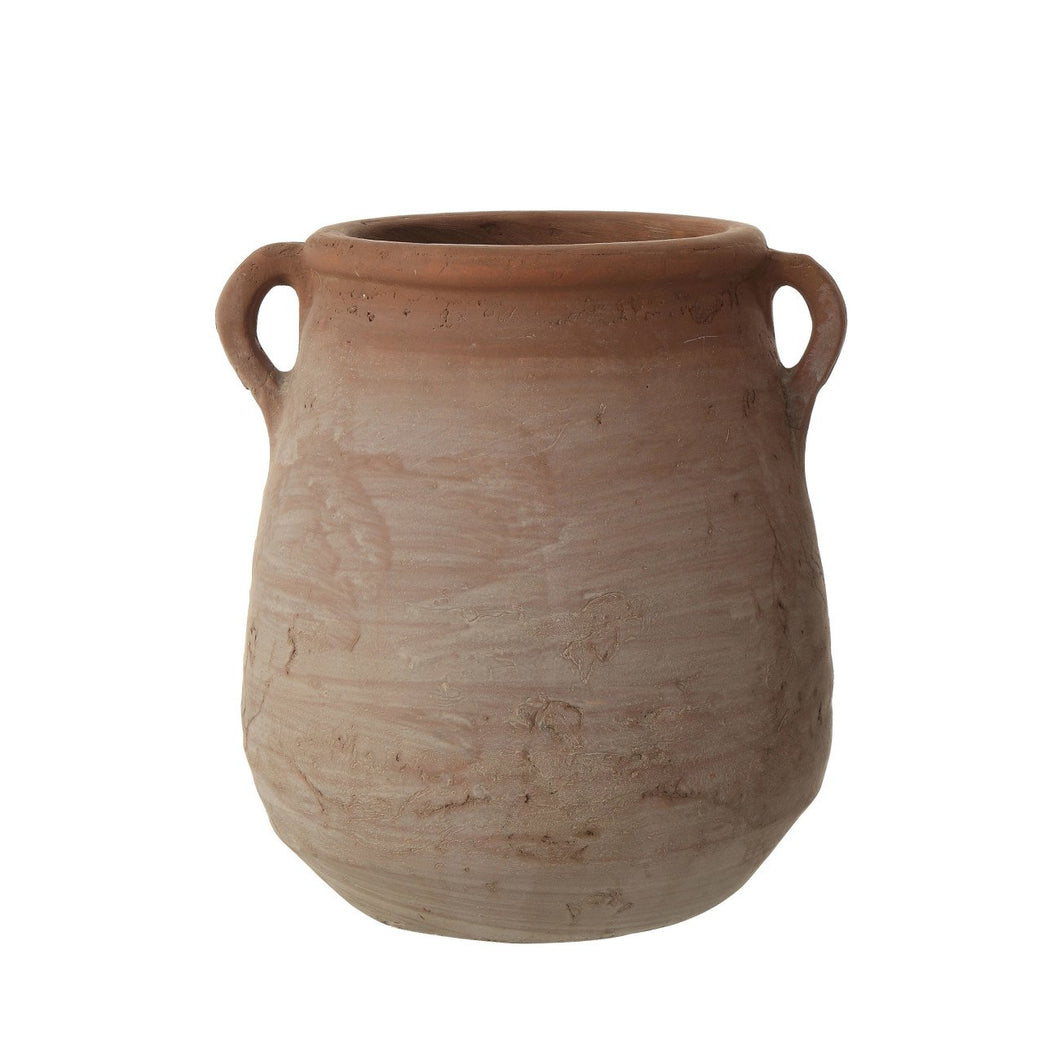 Small Orange & Whitewashed Terracotta Urn