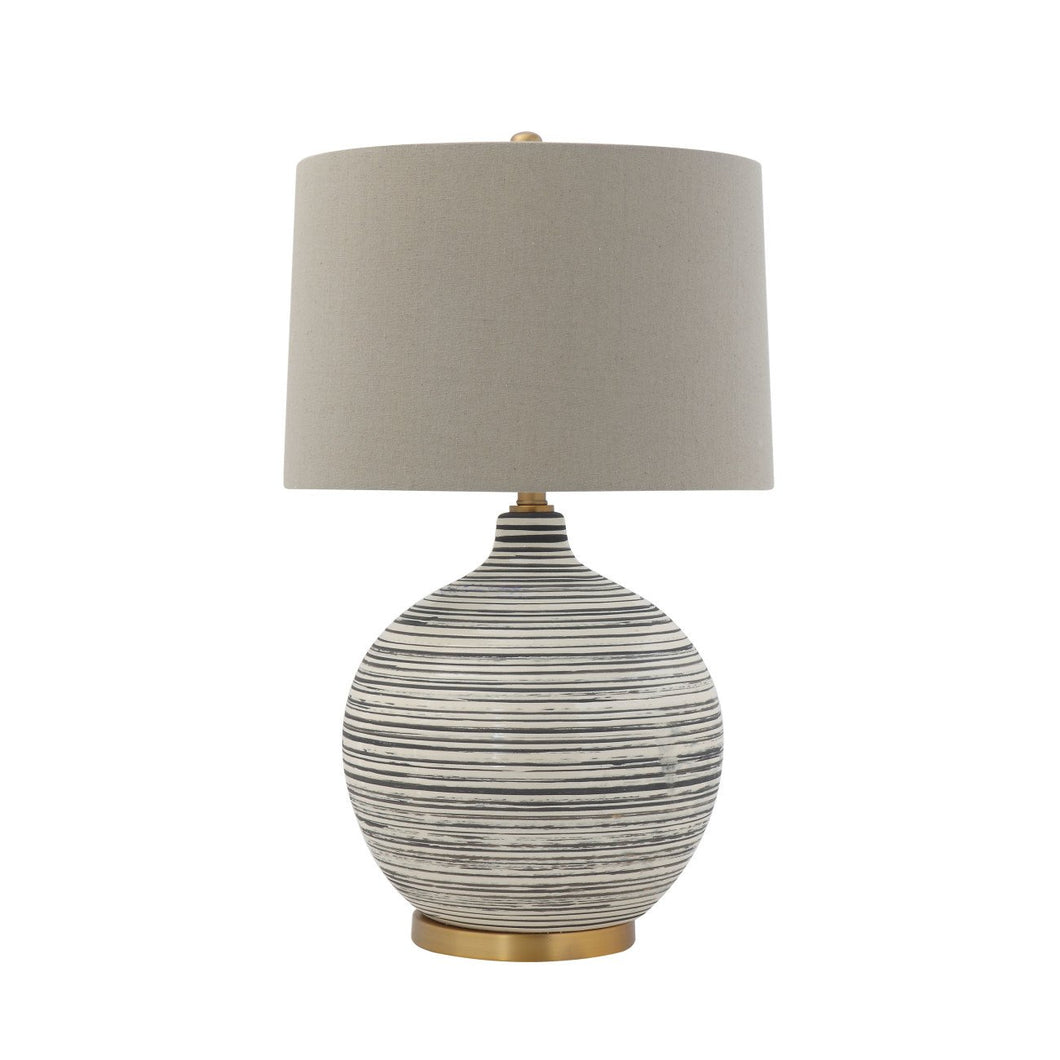 Textured Black & White Striped Ceramic Table Lamp with Grey Linen Shade