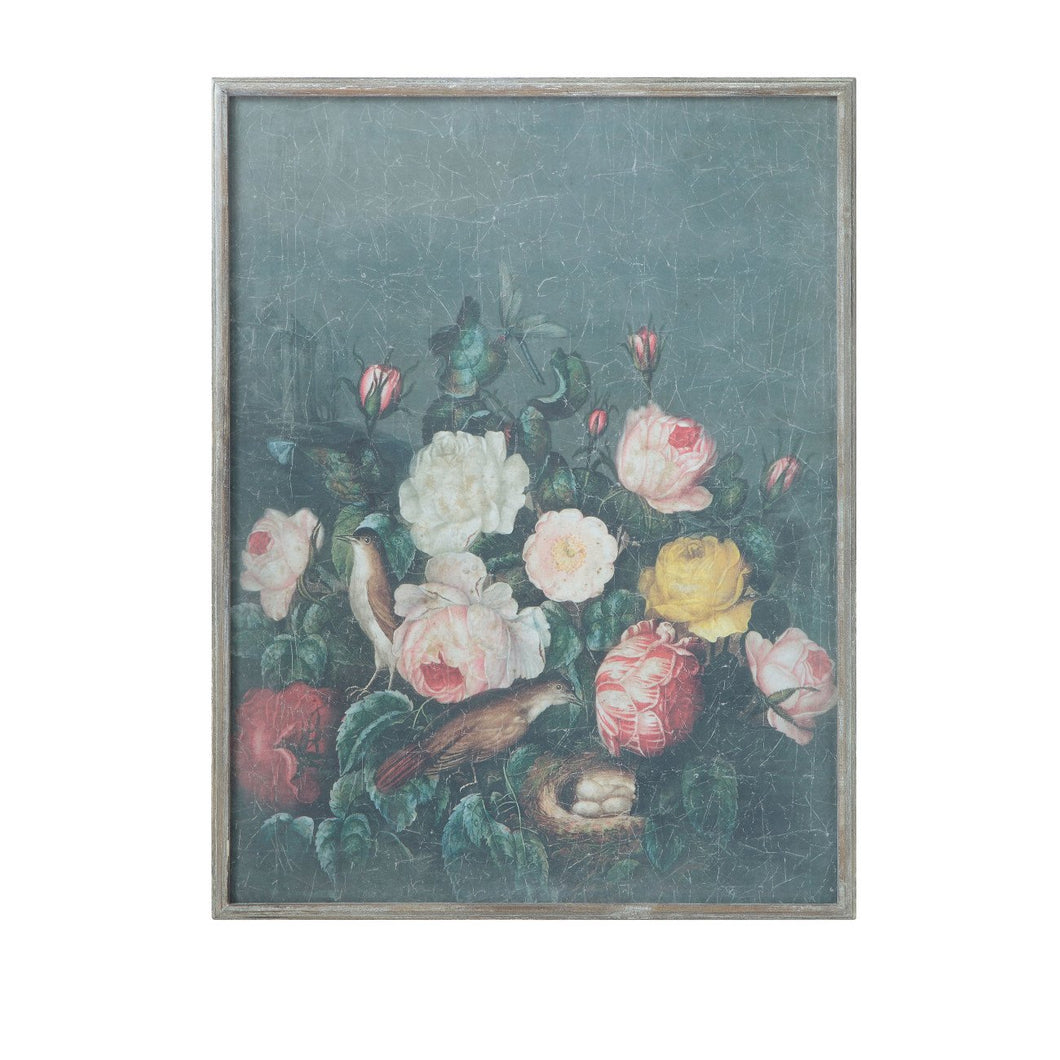 Floral Wood Framed Wall Décor