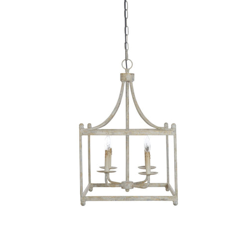 Distressed Cream Square Metal Pendant Light with 4 Candle Lights Bulbs not included