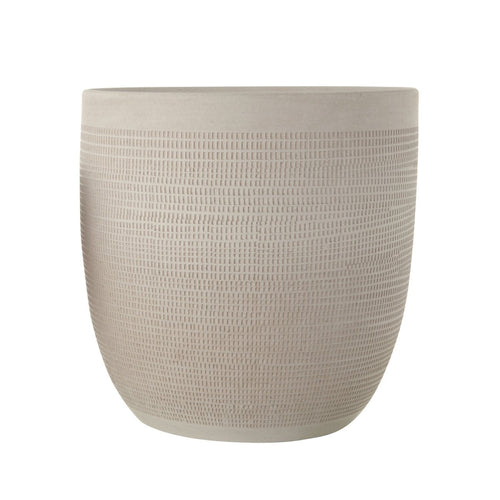Large Matte White Embossed Stoneware Planter