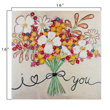 "Load image into Gallery viewer, ""I love You"" Floral Bouquet Canvas Wrapped Wall Décor"