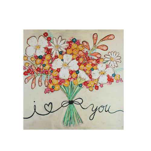 I love You Floral Bouquet Canvas Wrapped Wall Décor