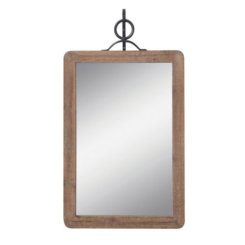 Large Wood Framed Rectangle Wall Mirror with Black Metal Hanging Bracket Set of 2 Pieces