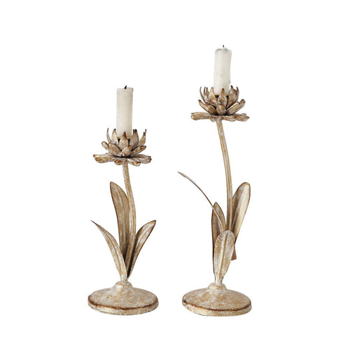 Cut Metal Flower Shaped Taper Candleholder in Distressed Gold Finish Set of 2 Sizes
