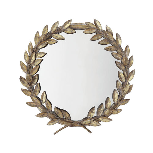 Round Antique Gold Metal Laurel Wreath Wall Mirror