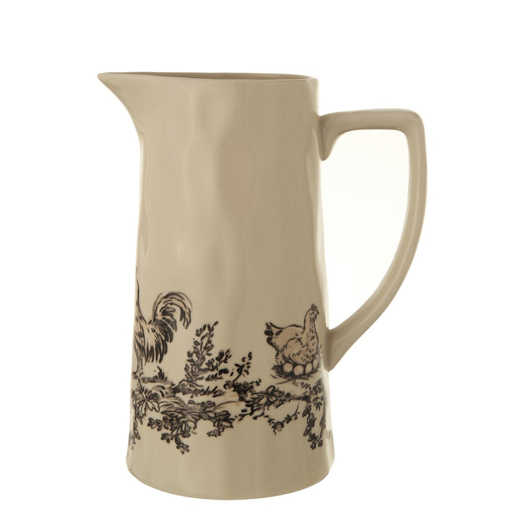 White & Black Stoneware Pitcher with Chickens