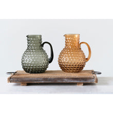 Load image into Gallery viewer, Large Transparent Amber Hobnail Glass Pitcher