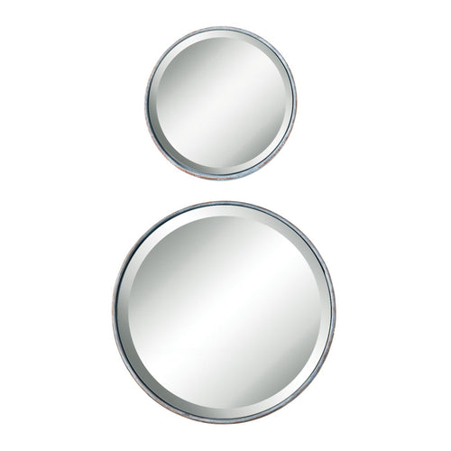 Small Round Metal Mirror with Distressed Zinc Finish