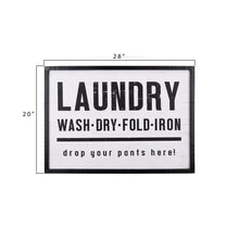 "Load image into Gallery viewer, ""Laundry, drop your pants here!"" Wood Framed Wall Décor"