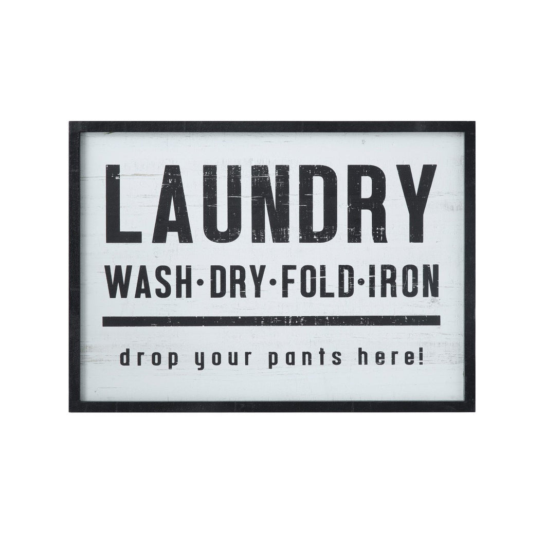 Laundry, drop your pants here! Wood Framed Wall Décor