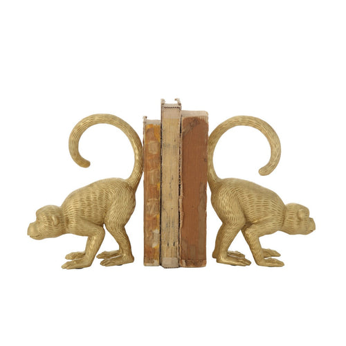 Gold Resin Monkey Bookends Set of 2 Pieces