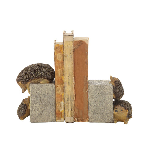 Brown & Grey Resin Hedgehog Bookends Set of 2 Pieces
