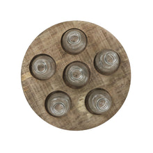 Load image into Gallery viewer, Round Wood Tray with 6 Clear Glass Vases (Set of 7 Pieces)