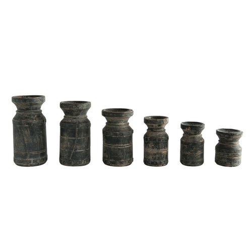 Black Found Wood Pillar Candleholders Set of 6/Each one will vary