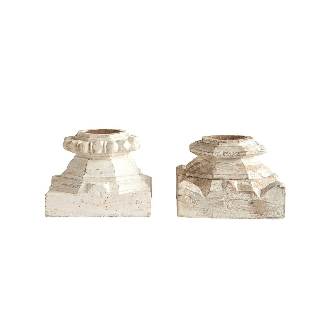 Found Distressed White Wood Column Candleholder Each one will vary