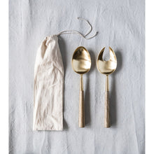 Load image into Gallery viewer, Stainless Steel Salad Servers with Brass Finish & Wood Handles (Set of 2 Pieces in Drawstring Bag)