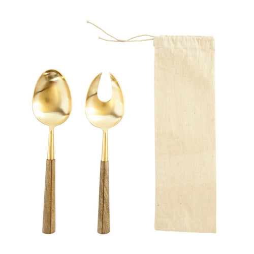 Stainless Steel Salad Servers with Brass Finish & Wood Handles Set of 2 Pieces in Drawstring Bag