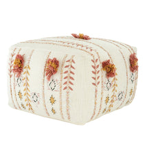 Load image into Gallery viewer, Square Cream Cotton Pouf with Misty Rose & Mustard Yellow Embroidery and Pom Poms