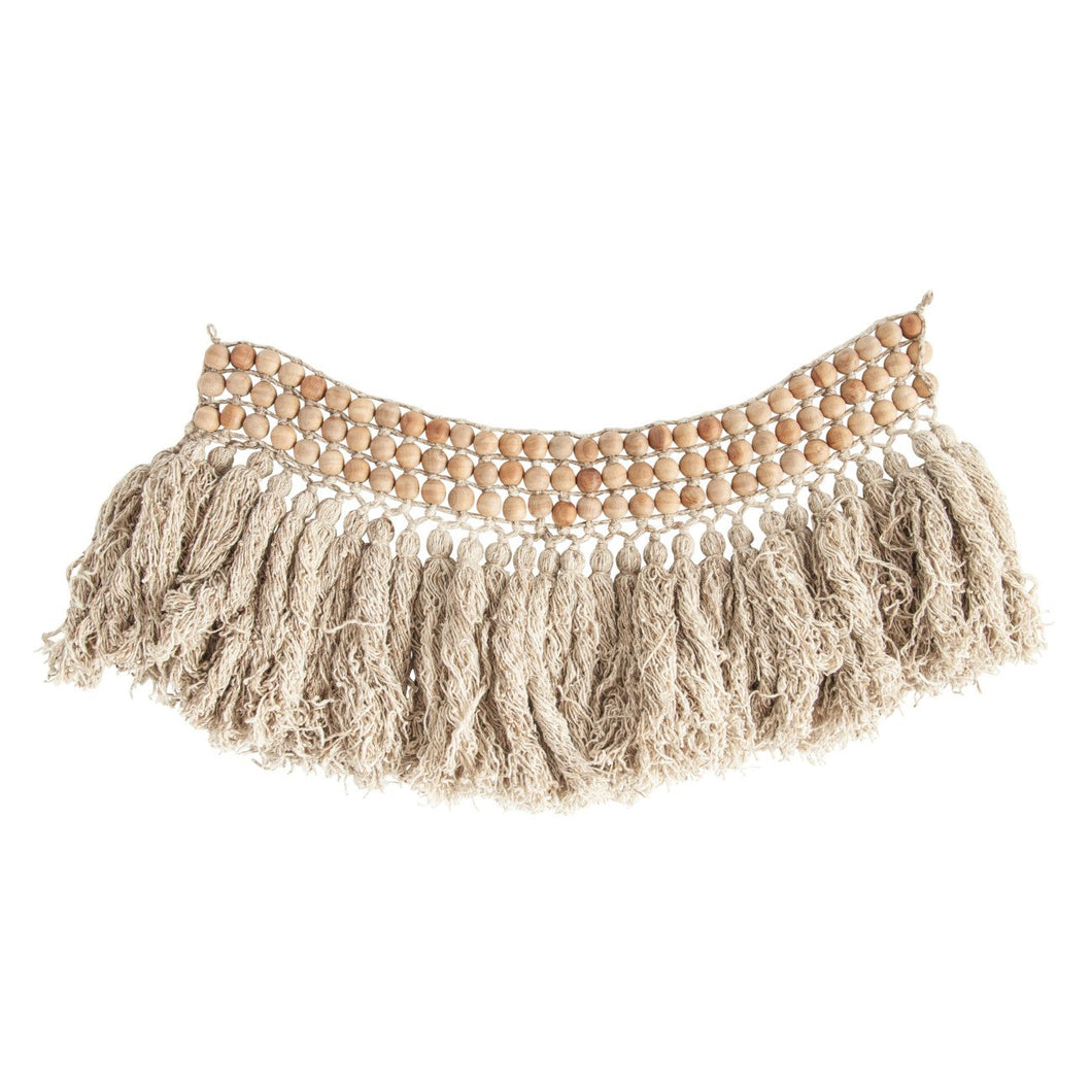 Wool Bead Wall Hanging with Wool Fringe