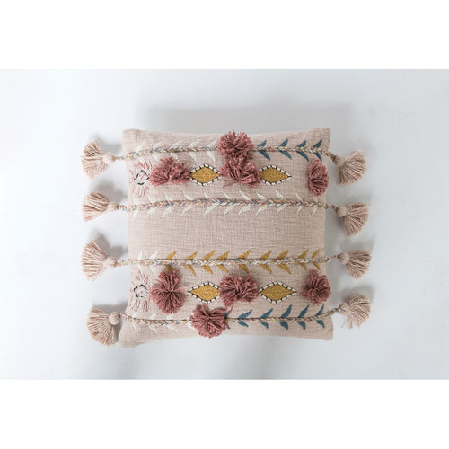 Embroidered & Appliqued Pink Cotton Pillow with Pom Poms & Tassels
