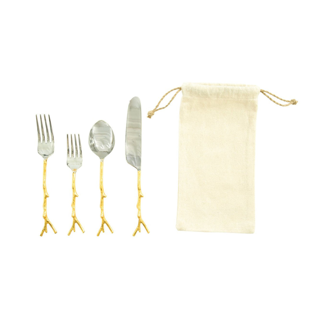 Stainless Steel Flatware Set with Gold Twig Shaped Aluminum Handle Set of 5 Pieces in Drawstring Bag