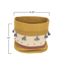 Load image into Gallery viewer, Mustard Jute Rope Basket with Stripes & Blue Tassels