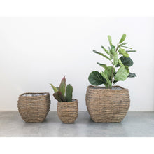 Load image into Gallery viewer, Natural Bamboo Branch Baskets with Plastic Lining (Set of 3 Sizes)