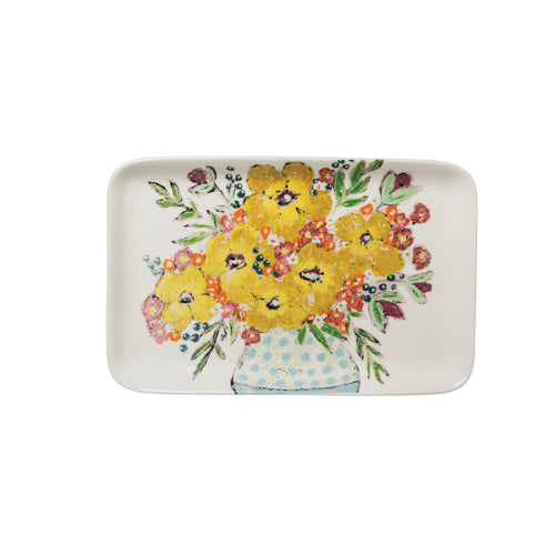 Yellow Floral Stoneware Platter Default Title