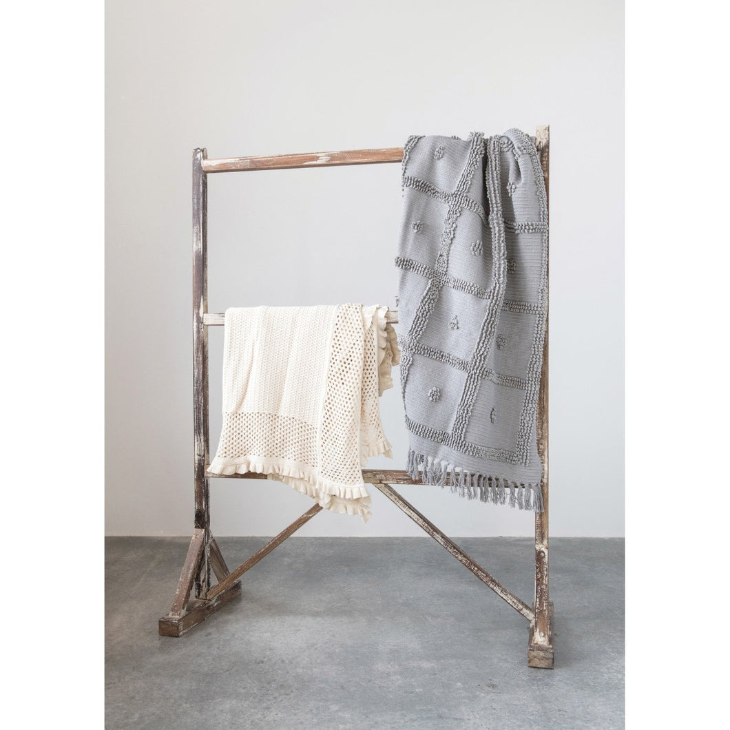 Off-White Cotton Knit Throw with Ruffled Edge