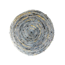 Load image into Gallery viewer, Heavily Distressed Blue Cotton Pouf with Black & Mustard Accents