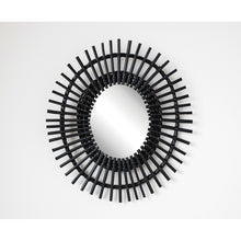 Load image into Gallery viewer, Black Woven Cane & Bamboo Framed Wall Mirror