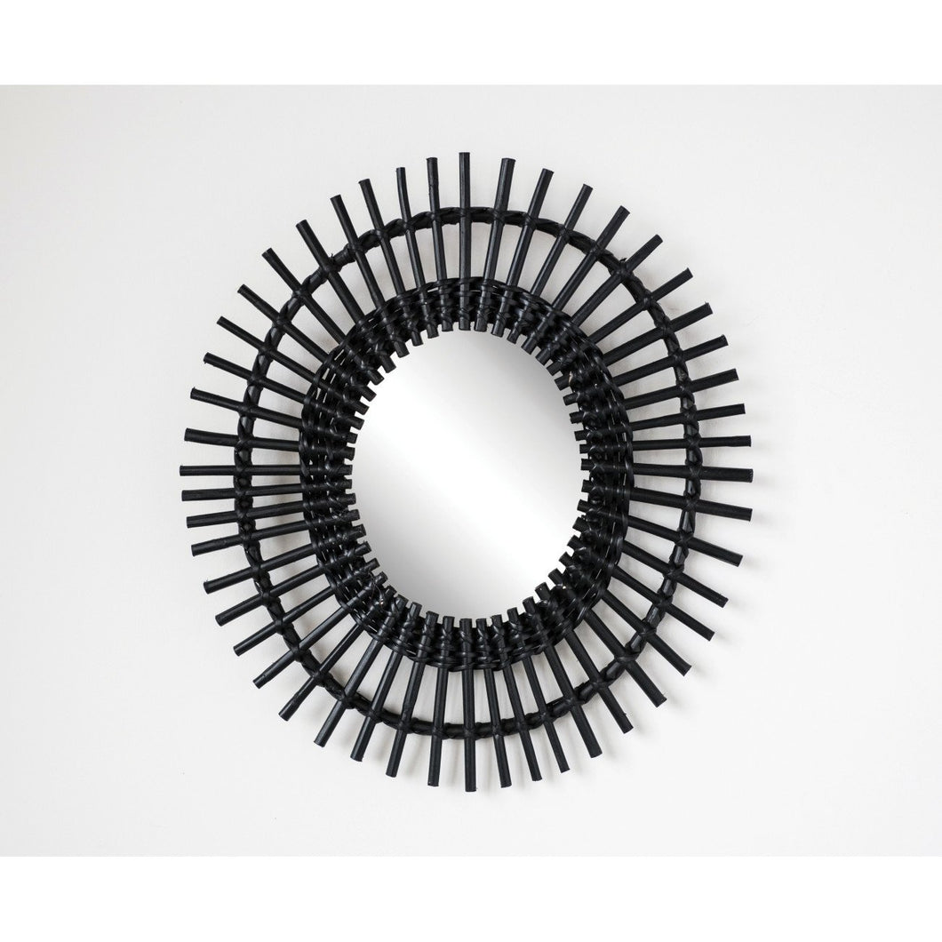 Black Woven Cane & Bamboo Framed Wall Mirror