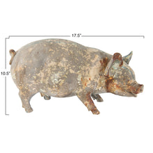 Load image into Gallery viewer, Heavily Distressed Magnesia Pig Figurine