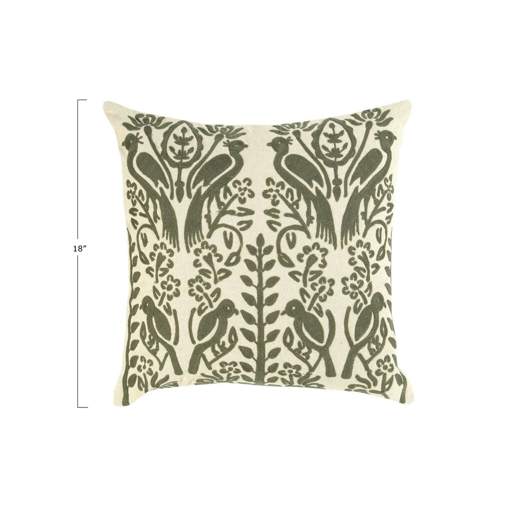 Square Embroidered Bird Silhouette  Cotton Pillow