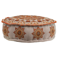"Load image into Gallery viewer, 8""H Embroidered Cotton Chambray Pouf with Mini Pom Poms"
