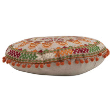 "Load image into Gallery viewer, 3""H Cotton Embroidered Floor Cushion with Mini Pom Poms"