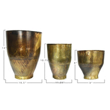 "Load image into Gallery viewer, Metal Planters with Antique Finishes (Set of 3 Sizes/Hold 8"", 10"" & 15"" pots)"