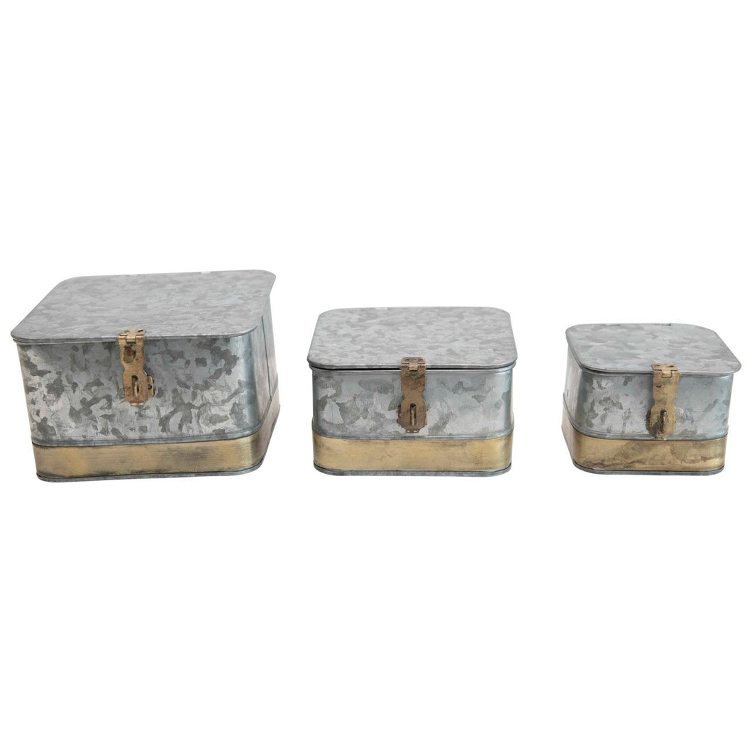 Decorative Galvanized Metal Boxes with Lids & Brass Accents (Set of 3 Sizes)