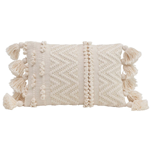 Rectangle Cotton Blend Lumbar Pillow with Thick Texture & Plush Tassels Default Title