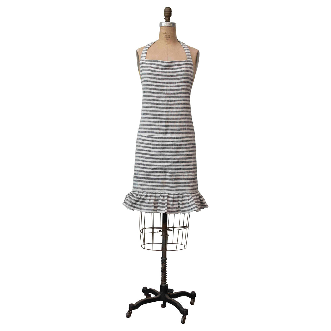 Ruffled Cotton Striped Apron with Pocket Default Title