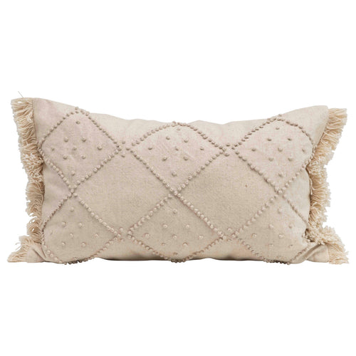 Rectangle Cotton & Linen Lumbar Pillow with Diamond Design & Fringed Ends Default Title