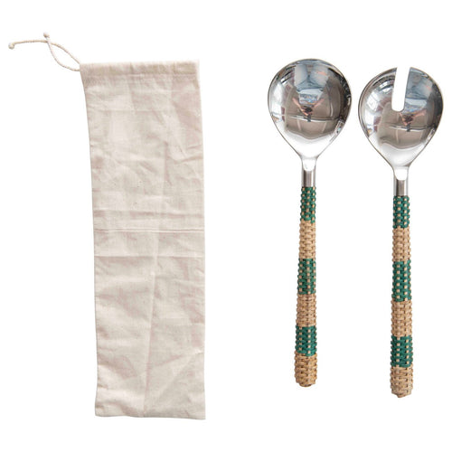 Stainless Steel Salad Servers with Striped Cane Handles Set of 2 Pieces in Drawstring Bag