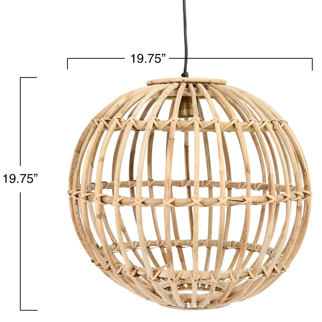 Small Round Handwoven Rattan Pendant Light with 6' Cord (Hardwire Only)