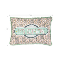 "Load image into Gallery viewer, ""Let's Stay Home"" Reversible Rectangle Cotton Stamp Pillow with Solid Back"